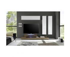Parete pensile per soggiorno Cube: 3 pensili e porta TV / Bianco-Rovere miele