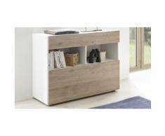 Mobile da ingresso Akira TFT Furniture: bianco lucido laccato e rovere kadiz