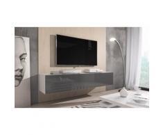 Mobile porta TV Rocco: Bianco-Grigio / 160 cm