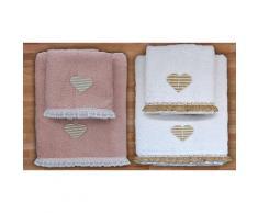 Asciugamani Heart: Bianco, rosa / 2 set