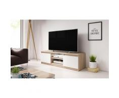 Mobile per TV Selsey con LED: Rovere sonoma/Bianco opaco