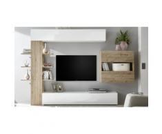 Parete soggiorno Sorano 709007-2K: Bianco lucido/Rovere