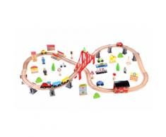 Ferrovia giocattolo in legno con 70 pezzi