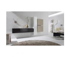 Parete da soggiorno: B03 - 2 colonne e 2 pensili / Bianco-Antracite-Corda