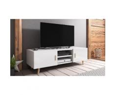 Mobile porta TV Selsey Living: Bianco-Bianco lucido