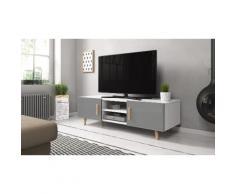 Mobile porta TV Selsey Living: Bianco-Grigio lucido