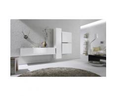 Parete da soggiorno: B03 - 2 colonne e 2 pensili / Bianco lucido