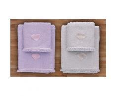 Asciugamani Heart: Lilla, perla / 2 set