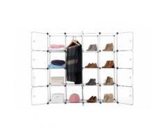 :MOD16W - Mobile modulare a 16 scomparti crea il tuo armadio con appendiabiti - Bianco