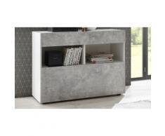 Mobile da ingresso Akira TFT Furniture: bianco lucido laccato ed effetto cemento