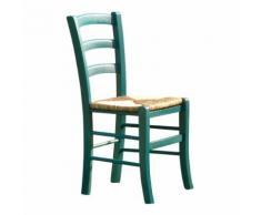 Sedia in legno Nature con seduta in paglia e verniciata colore acquamarina