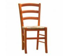 Sedia in legno Nature con seduta in paglia e verniciata colore arancione