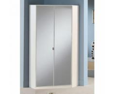 Armadio angolare Ciclamino in bianco opaco e specchio