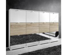 Scarpiera Colorado VI in bianco, specchio e rovere Sanremo