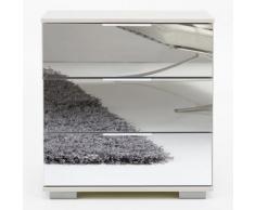Comodino Girasole L in bianco opaco e specchio