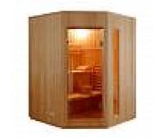finlandesi Sauna Finlandese angolare 3 posti Ten in Abete Canadese 150 x 150 CM