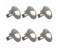 vidaXL Lampade da Parete da Esterno a LED 6 pz 5 W Argento Rotonde