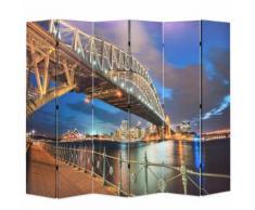 vidaXL Paravento Pieghevole 228x170 cm Stampa Harbour Bridge di Sydney