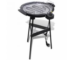 vidaXL Barbecue elettrico rotondo con supporto BBQ Grill da giardino
