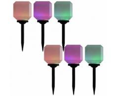 vidaXL Lampade Solari da Esterni a LED 6 pz Cubiche 20 cm RGB