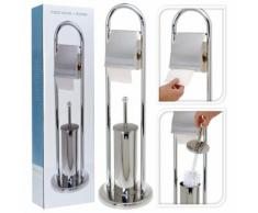 Bathroom Solutions Porta Carta igienica/Scopino Acciaio Inox Argento