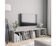 vidaXL Libreria/Mobile TV Grigio Cemento 143x30x36 cm