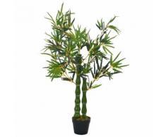 vidaXL Pianta di Bambù Artificiale con Vaso Verde 110 cm