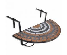 vidaXL Tavolo Sospeso da Balcone in Terracotta e Bianco a Mosaico