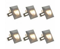 vidaXL Lampade da Parete da Esterno a LED 6 pz 5 W Argento Quadrate