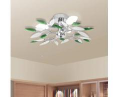 vidaXL Lampada Soffitto Foglie Bianco e Verde Cristallo Acrilico 3xE14