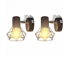 vidaXL 2 Applique giardino con reticolo stile industriale nero lampadina LED