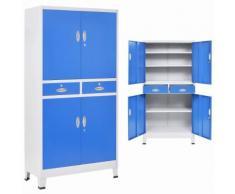 vidaXL Armadio per Ufficio con 4 Ante Metallo 90x40x180cm Grigio e Blu