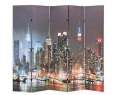 vidaXL Paravento Pieghevole 200x180 cm Stampa New York di Notte