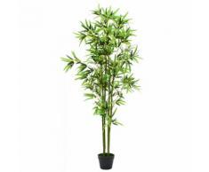 vidaXL Pianta di Bambù Artificiale con Vaso 175 cm Verde