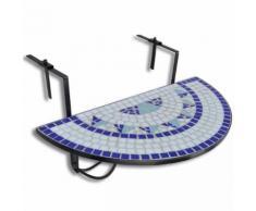 vidaXL Tavolo da Balcone Sospeso Blu e Bianco a Mosaico