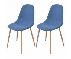 vidaXL 2 Pz Sedie per Sala da Pranzo in Stoffa Blu