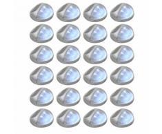 vidaXL Lampade Solari da Parete da Esterni a LED 24 pz Rotonde Argento