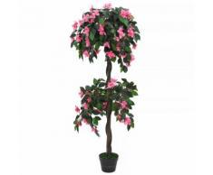 vidaXL Pianta Artificiale di Rododendro con Vaso 155 cm Verde e Rosa