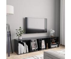 vidaXL Libreria/Mobile TV Nero Lucido 143x30x36 cm