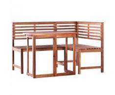 vidaXL Set Tavolo da Balcone e Panca ad Angolo 2pz Massello di Acacia