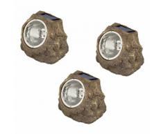 Luxform Lampade Solari a LED da Giardino Andes 3 pz a Forma di Roccia