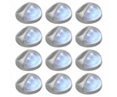 vidaXL Lampade Solari da Parete da Esterni a LED 12 pz Rotonde Argento