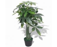 vidaXL Pachira Acquatica Pianta Artificiale con Vaso 85 cm Verde