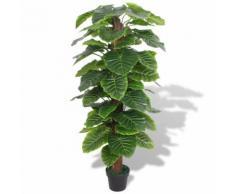 vidaXL Taro Pianta Artificiale con Vaso 145 cm Verde