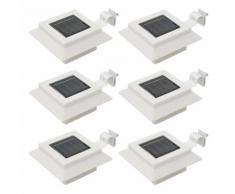 vidaXL Lampade Solari da Esterni 6 pz a LED Quadrate 12 cm Bianco