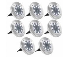 vidaXL Lampade Solari da Terra 8 pz Luci a LED Bianche