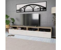 vidaXL Mobile Porta TV 2 pz in Truciolato 95x35x36 cm Rovere e Bianco