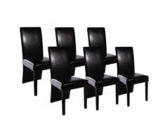 vidaXL Set Sedie Sala da Pranzo 6 pz in Pelle Artificiale Nera