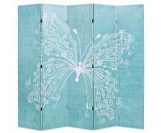 vidaXL Paravento Pieghevole 200x180 cm Stampa Farfalla Blu