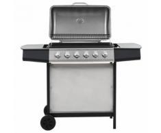 vidaXL Barbecue Griglia a Gas 6 Fornelli Acciaio Inossidabile Argento